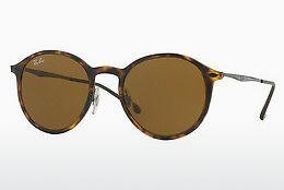 Lunettes de soleil Ray-Ban Round Light Ray (RB4224 894/73) - Brunes, Havanna