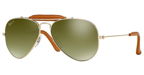 Ray-Ban RB3422Q 001/M9 GREEN GRADIENT BLUE+ POLAR ARARISTA/LIGHT BROWN LEATHER