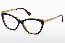 Lunettes design Tom Ford FT5374 090 - Bleues, Shiny
