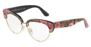 Dolce & Gabbana DG3247 3127 PRINT ROSE ON BLACK