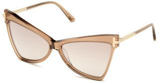 Tom Ford FT0767 57G braun verspiegeltbeige glanz